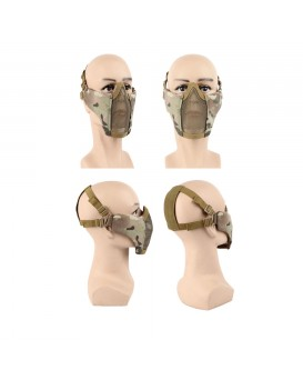 AegisTac Half Face Lower Mask Foldable Mesh Adjustable Tactical Metal Steel Mask for Airsoft