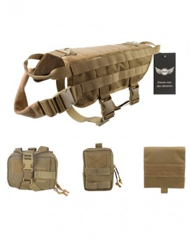 AegisTac Tactical Dog Vest Service Training Molle Dog Harness with Detachable Pouches