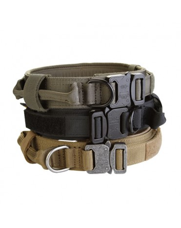 AegisTac Tactical Training Adjustable Dog Collar with Control Handle and Quick Release Metal Buckle